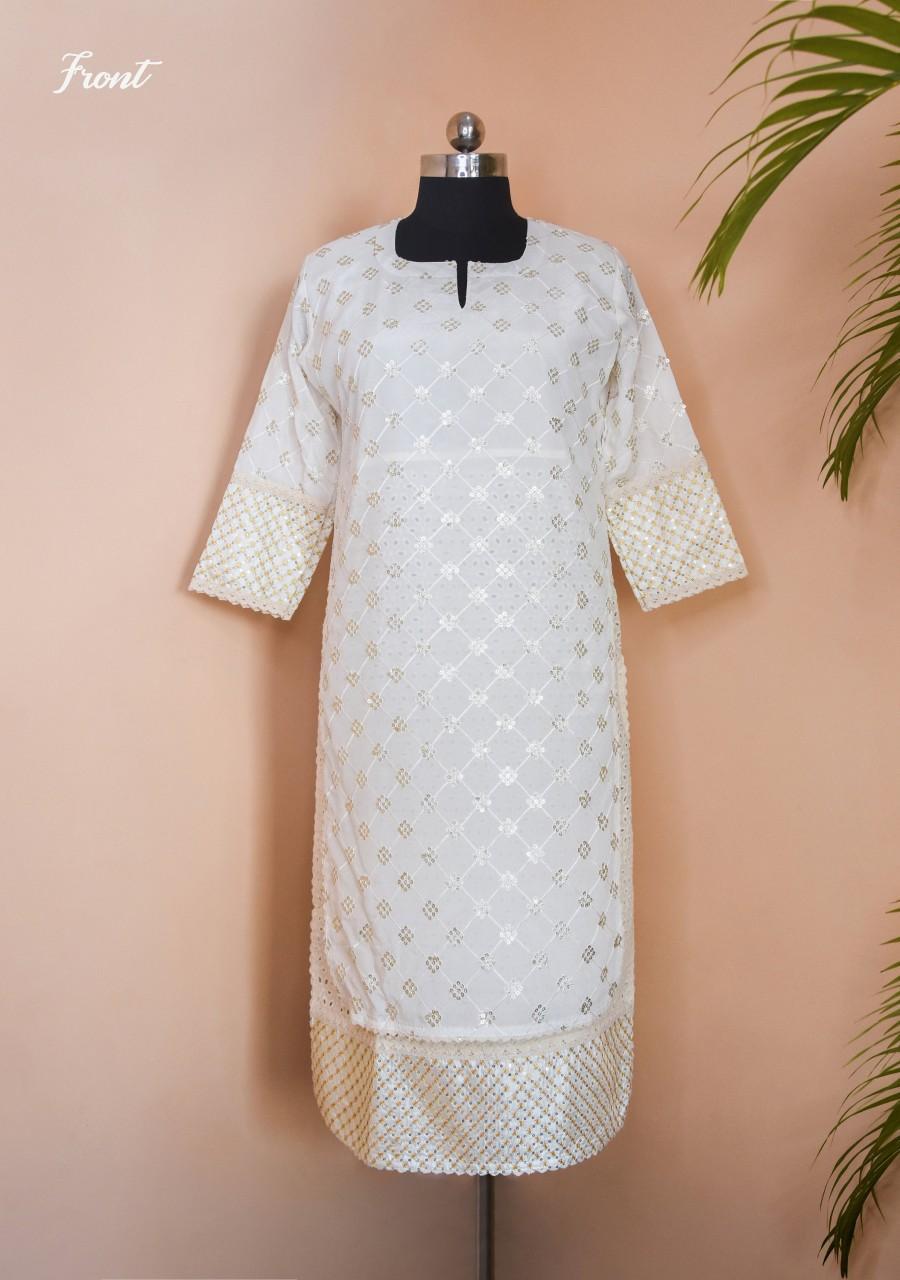 Wedding - Off-white (Ivory) Multi layer Kurti with Square Sequin pattern, Chikankari design kurti, Fabric 100% Cambric Chikan and Chiffon kurti