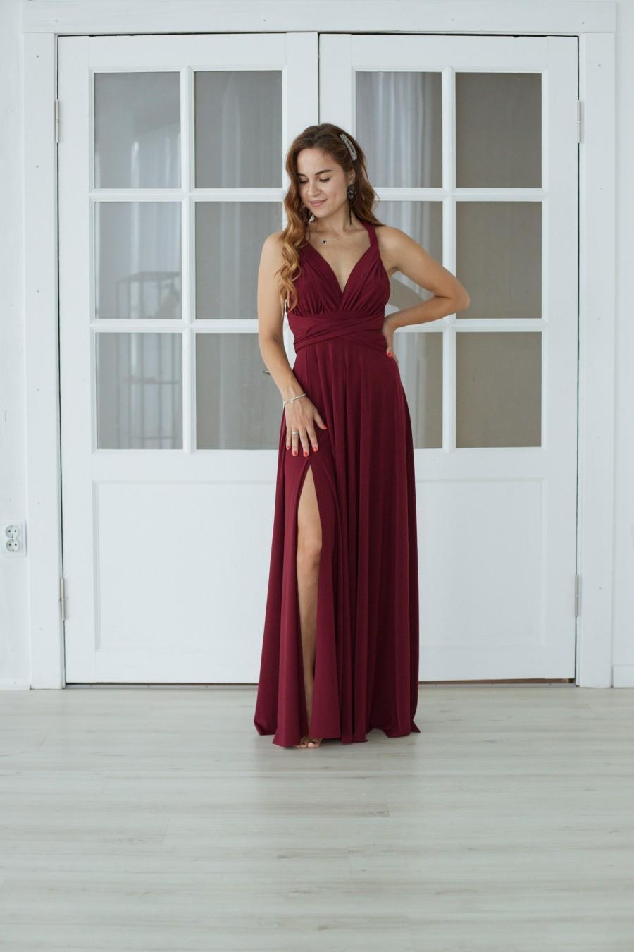 Wedding - Burgundy wine Bridesmaid dress with a slit, burgundy infinity dress with a slit, convertible dress with a slit, multiway dresswith a slit