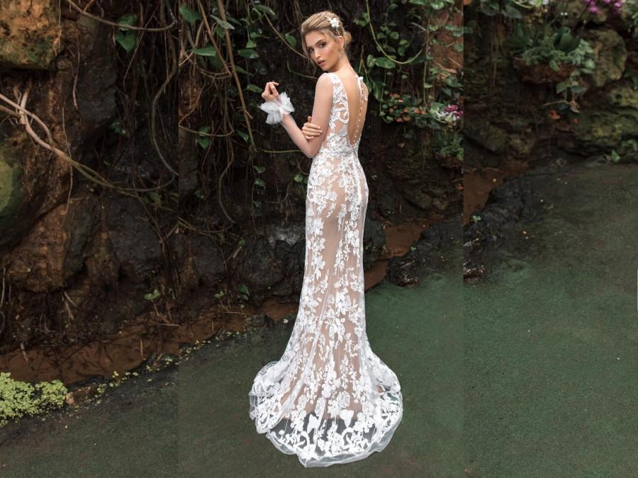Wedding - Sheer Long Sleeve Weding Dress, Floral Lace Wedding Dress, Lace Mermaid Bridal Gown, Tight Nude Wedding Dress, Sexy Bridal Gowns