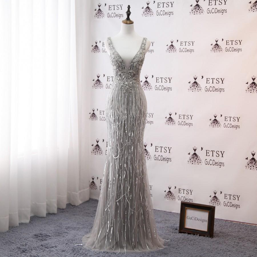 Wedding - Sexy Deep V neck Prom Dress Gray Mermaid Trumpet Design 2019 Luxury Gold Crystal Women Formal Evening Party Gown Bridal Wedding Gown