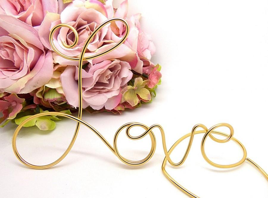 Wedding - Love Cake Topper, Wedding Cake Topper, Lightweight, Handmade Wire Love, Custom Color Cake Topper, Anniversary Decor