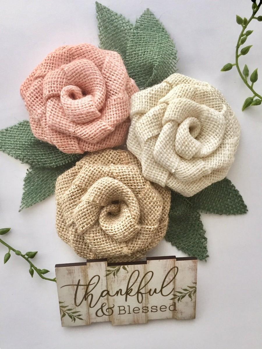 Wedding - Peach Burlap Flower Trio - Farmhouse Wedding Decorations, Rustic Wedding Decor, Barn Wedding, Country Wedding, Outdoor, Wedding, Rustic