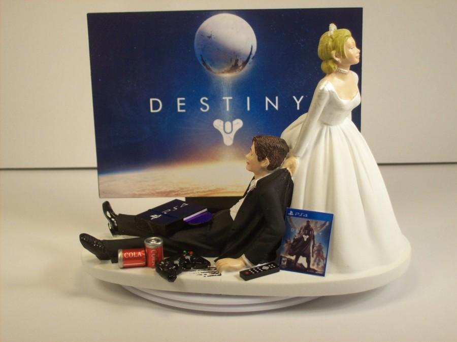 Wedding - Funny Wedding Cake Topper DEST Gamer Gaming Junkie Player Custom Personalized Awesome Charming Rehearsal Groom's