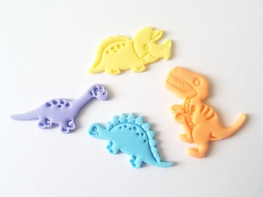 Wedding - Fondant Dinosaur Cupcake Toppers