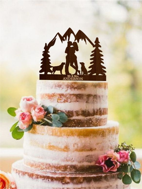 Wedding - Couple with dogs, Silhouette Mr and Mrs cake topper, Two dogs cake topper, Mountains cake topper, Tree cake topper, Rustic cake topper