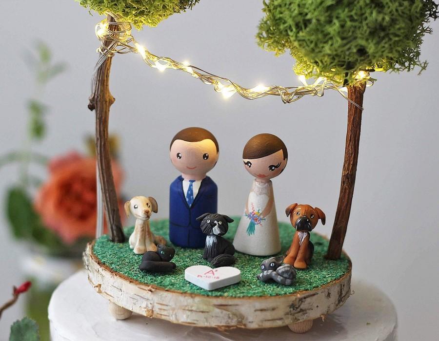 Wedding - Wedding cake topper figurines : Pet cake topper - Cat cake topper - Cake topper with dogs - Garden cake toper - Custom cake figurines
