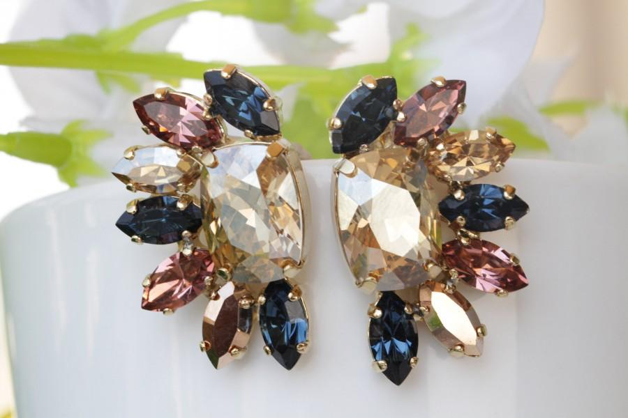 Wedding - Rose Gold Navy Blush Pink Cluster Earrings, Swarovski Crystal Stud Post Rainbow Earrings,Colorful jewelry, Wedding Multicolor Gift for Bride