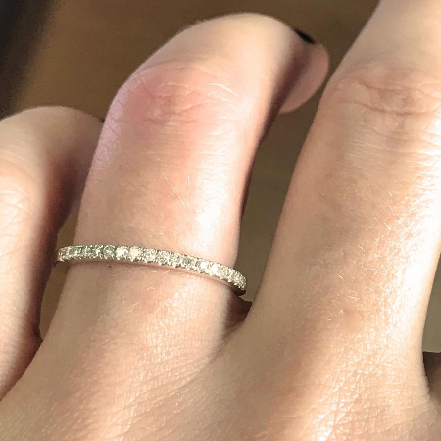 Wedding - 0.2 ctw Natural Diamond (G-H, SI1-SI2) Solid 14k White Gold Wedding Ring / Thin Anniversary Band 1.8 mm / Stacking Half Eternity Bridal Ring