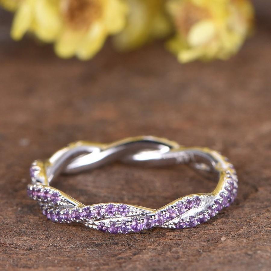 Wedding - Amethyst Wedding Ring Twist Wedding Band Infinity Ring Full Eternity Stacking Ring Matching Band 14K White Gold