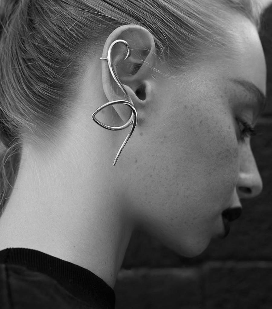 Wedding - Flamingo silver earring, single earring, bird earring, flamingo jewelry, Christmas gift