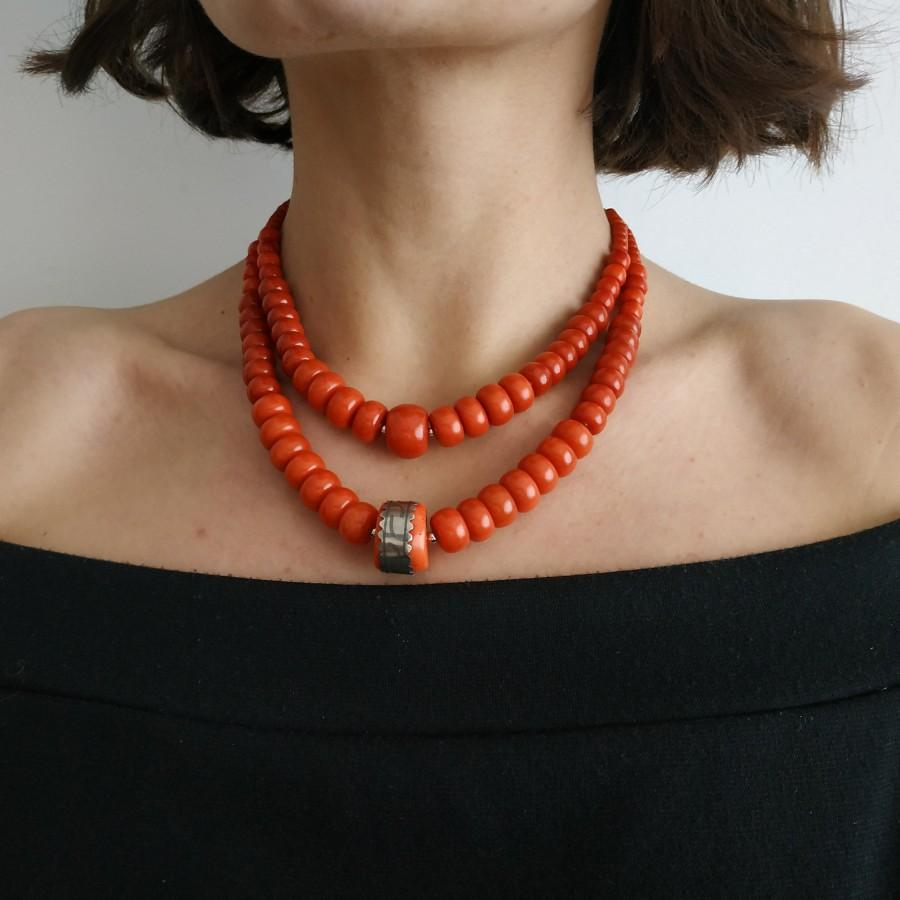 Wedding - Coral Silver Necklace Orange Coral Beads Big Corals Jewelry Ukrainian Ethnic Coral Necklace Antique Jewelry Style Vintage Gift For Mother