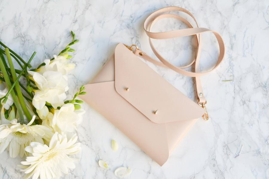 Wedding - Nude leather clutch bag / Nude envelope clutch / Available with wrist or shoulder strap / Genuine leather / Bridesmaid gift / SMALL SIZE