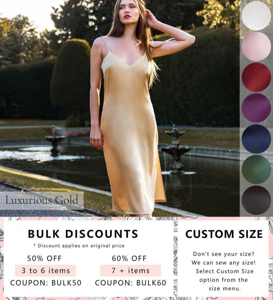 Wedding - Gold Bridesmaid Silk Dress  • Luxurious Satin Nightgown • Valentines Gift for Her, Wife and Girlfriend • Long Plus Size Nightwear Chemise