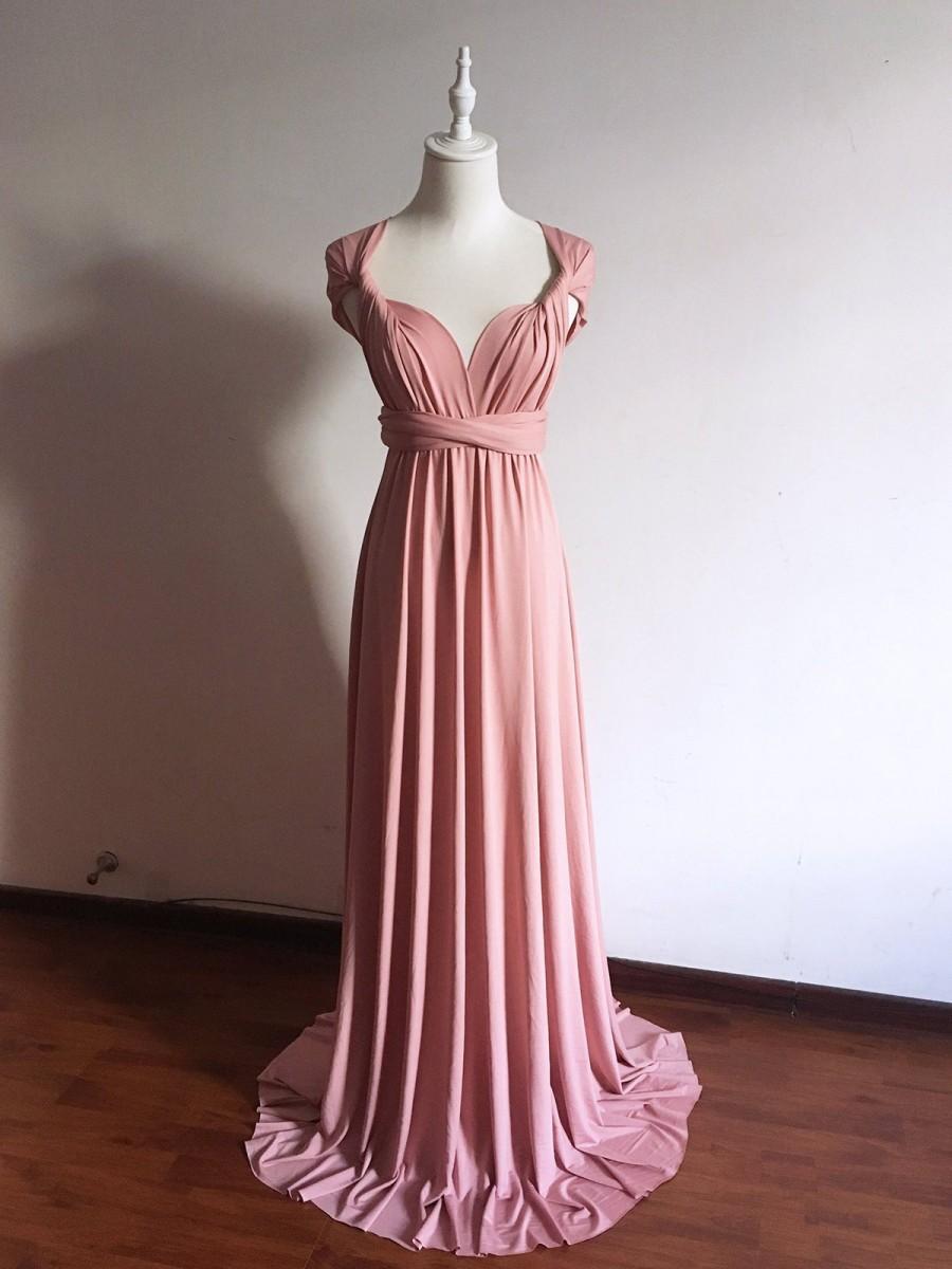 Wedding - Long/ Short Dusty Rose Infinity Bridesmaid Dress Multi-way Bridesmaid Dress Convertible Bridesmaid Dress Formal Evening Dress Plus Size