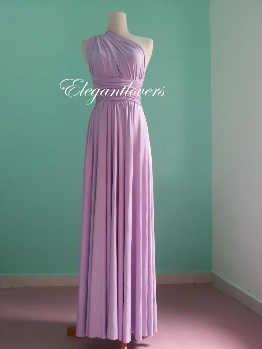Wedding - Lavender Wedding Bridesmaid Infinity Wrap Convertible Evening Cocktail Party Dress Maxi Elegant Prom Custom Made Plus Size Bridal Dresses