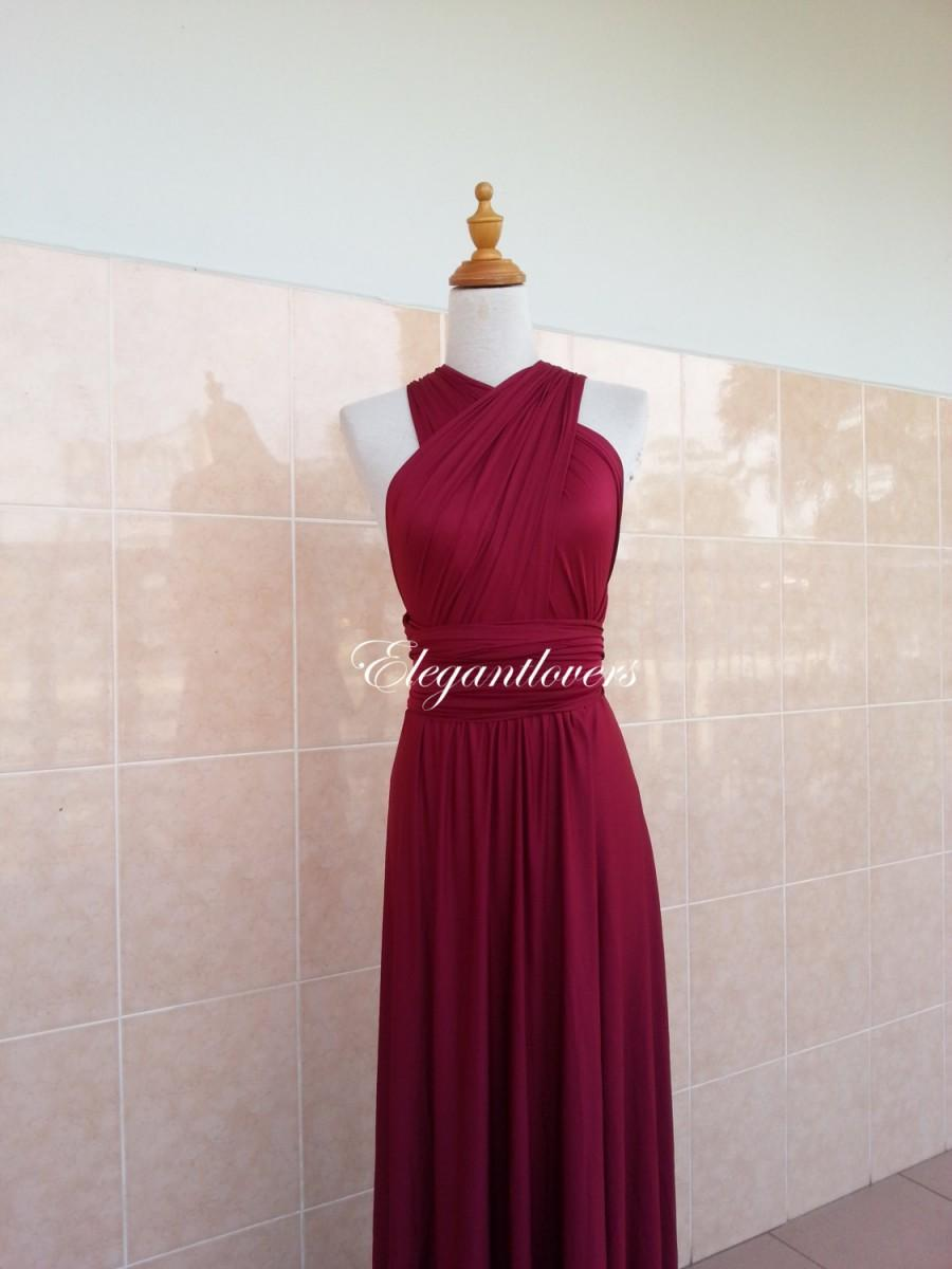 Wedding - Red Wine Merlot Burgundy Maroon Bridesmaid Dress Infinity Dress Wrap Dress Evening Cocktail Party Long Maxi Elegant Prom  Bridal Dresses