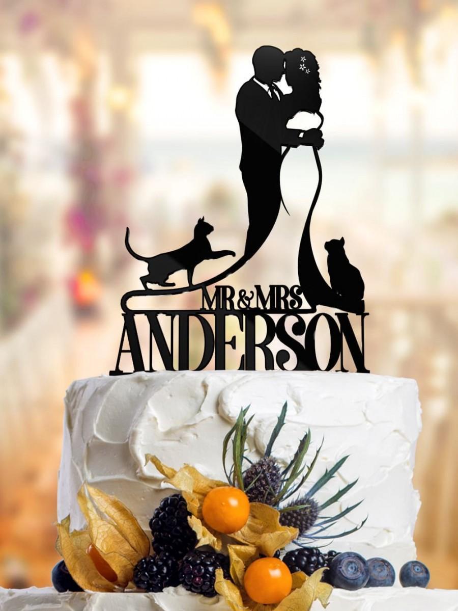 Wedding - Cat Cake Topper Cat, Cat Cake Toppers,  Cake Topper Wedding Cat, Personalized Wedding Cake Topper Custom Cake Toppers PR020
