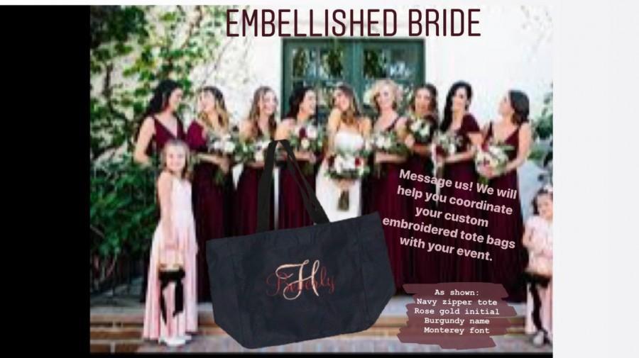 Wedding - 6 Tote Bags with ZIPPER ,Bridesmaid tote bag , bridesmaid gifts , beach bag , bachelorette party gift , wedding tote bags, monogrammed tote