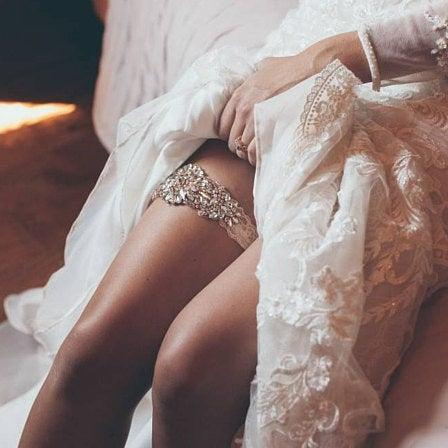 Wedding - Sale -Wedding Garter and Toss Garter-Crystal Rhinestones with Rose Gold Details - IVORY Wedding Garter Set - Style G90770