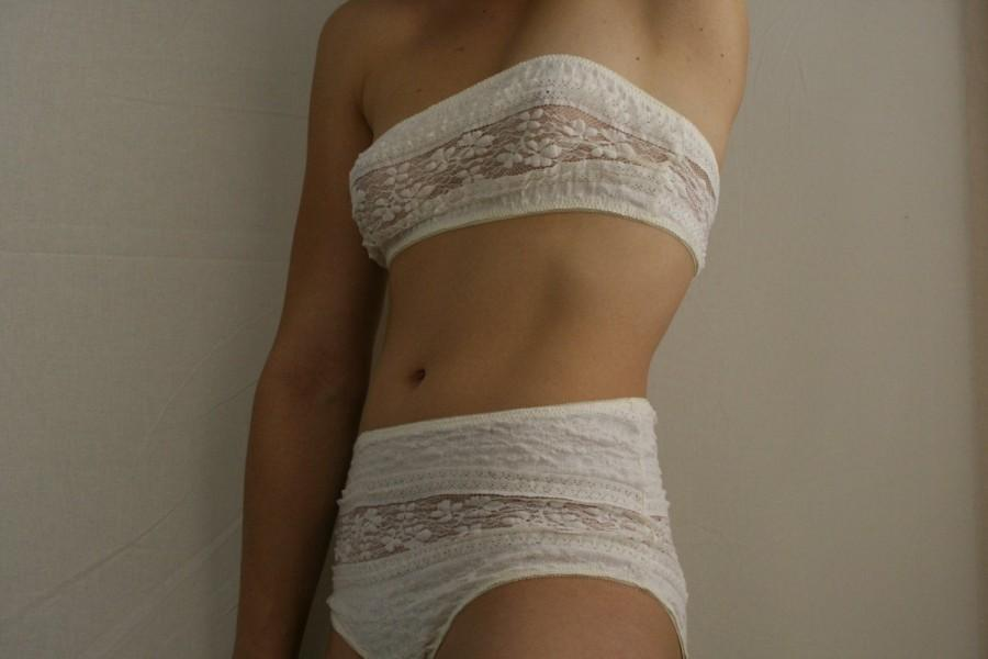 Hochzeit - Lingerie Set cream Bra or Bustier and vanilla or black Panty
