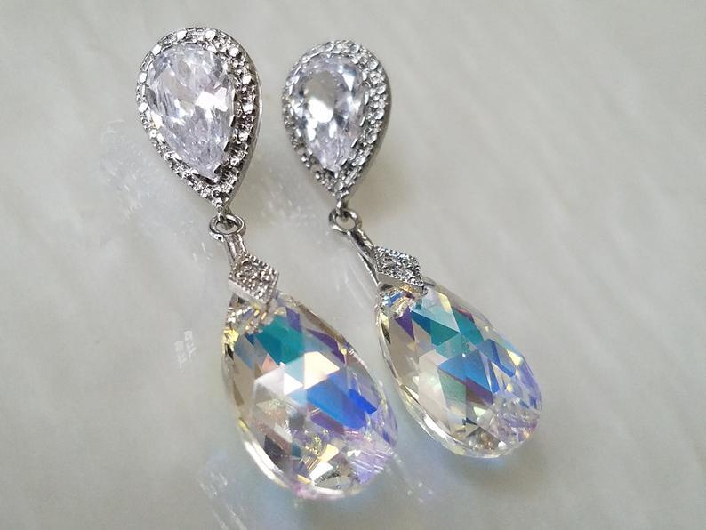 Wedding - Aurora Borealis Crystal Earrings, Swarovski AB Crystal Silver Earrings, Wedding Bridal Crystal Earrings, Rainbow Teardrop Dangle Earrings