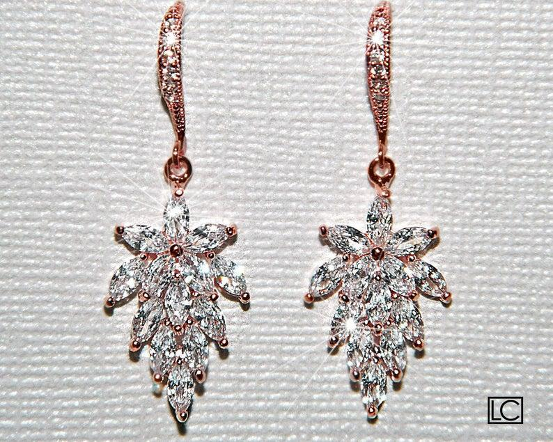 Wedding - Rose Gold Cubic Zirconia Earrings, Cluster Leaf Crystal Earrings, Pink Gold Leaves Dangle Earrings Bridal Jewelry Rose Gold Wedding Jewelry