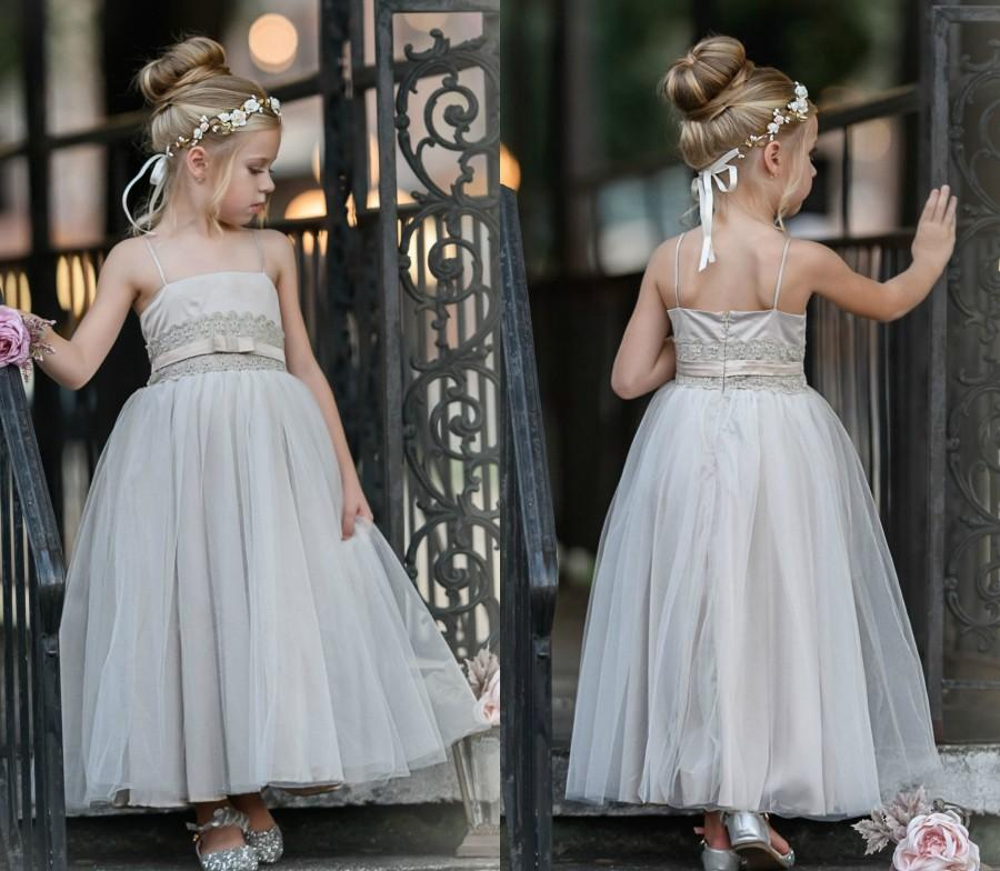 Hochzeit - Champagne Flower Girl Dress, Tulle Flower Girl Dresses, Bohemian Flower Girl Dress, Baby Lace Flower girl dress, Country Chic Flowergirl,