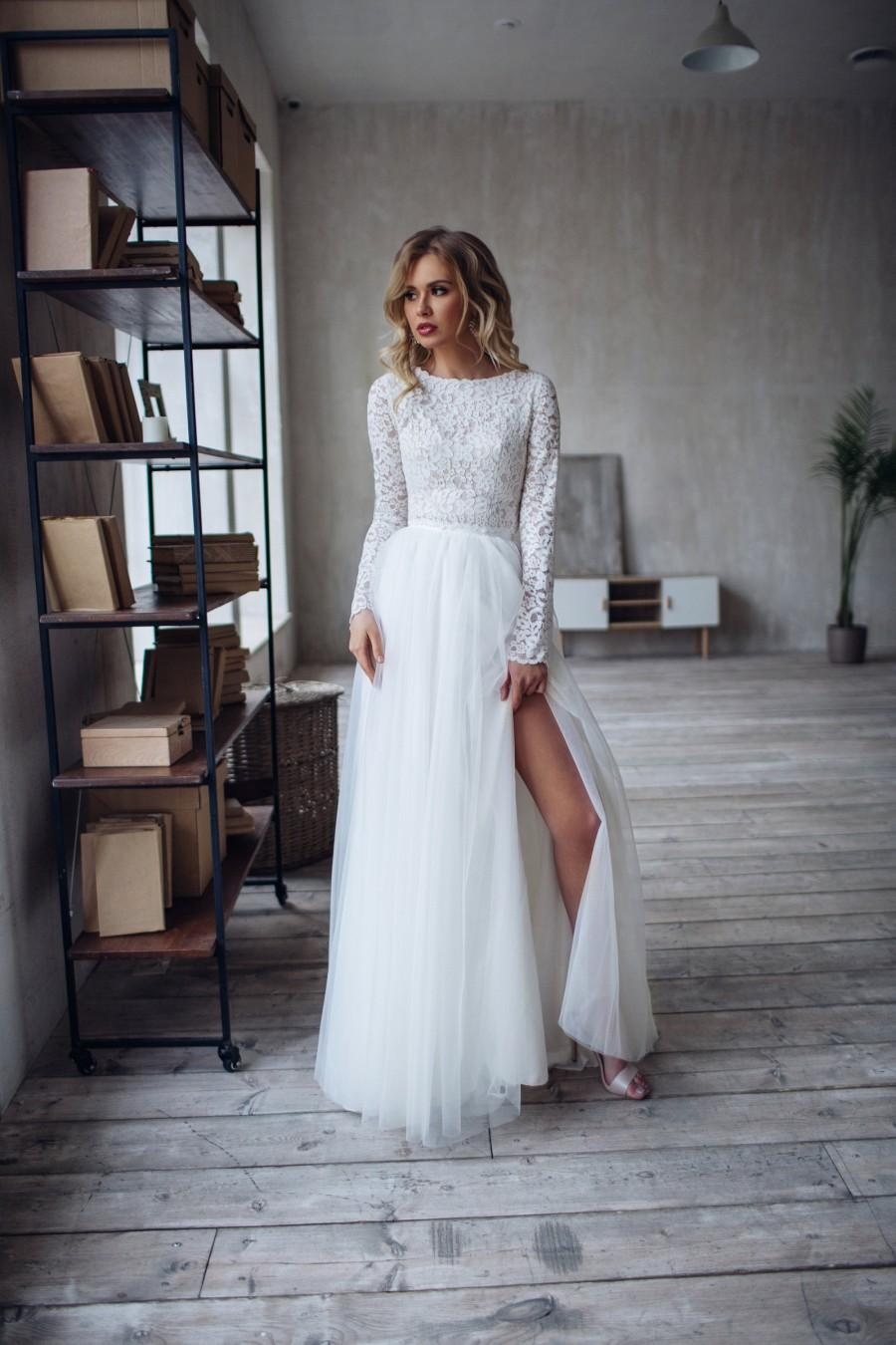 Hochzeit - A R W E N lace crop top and tulle skirt with slit, bridal separates