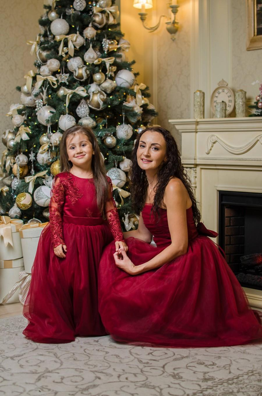 Свадьба - Red Formal Dress, Mother Daughter Matching Dress, Mommy and Me Outfit, Burgundy Baby Dress, 1st Birthday Dress, Photoshoot Dress, Lace