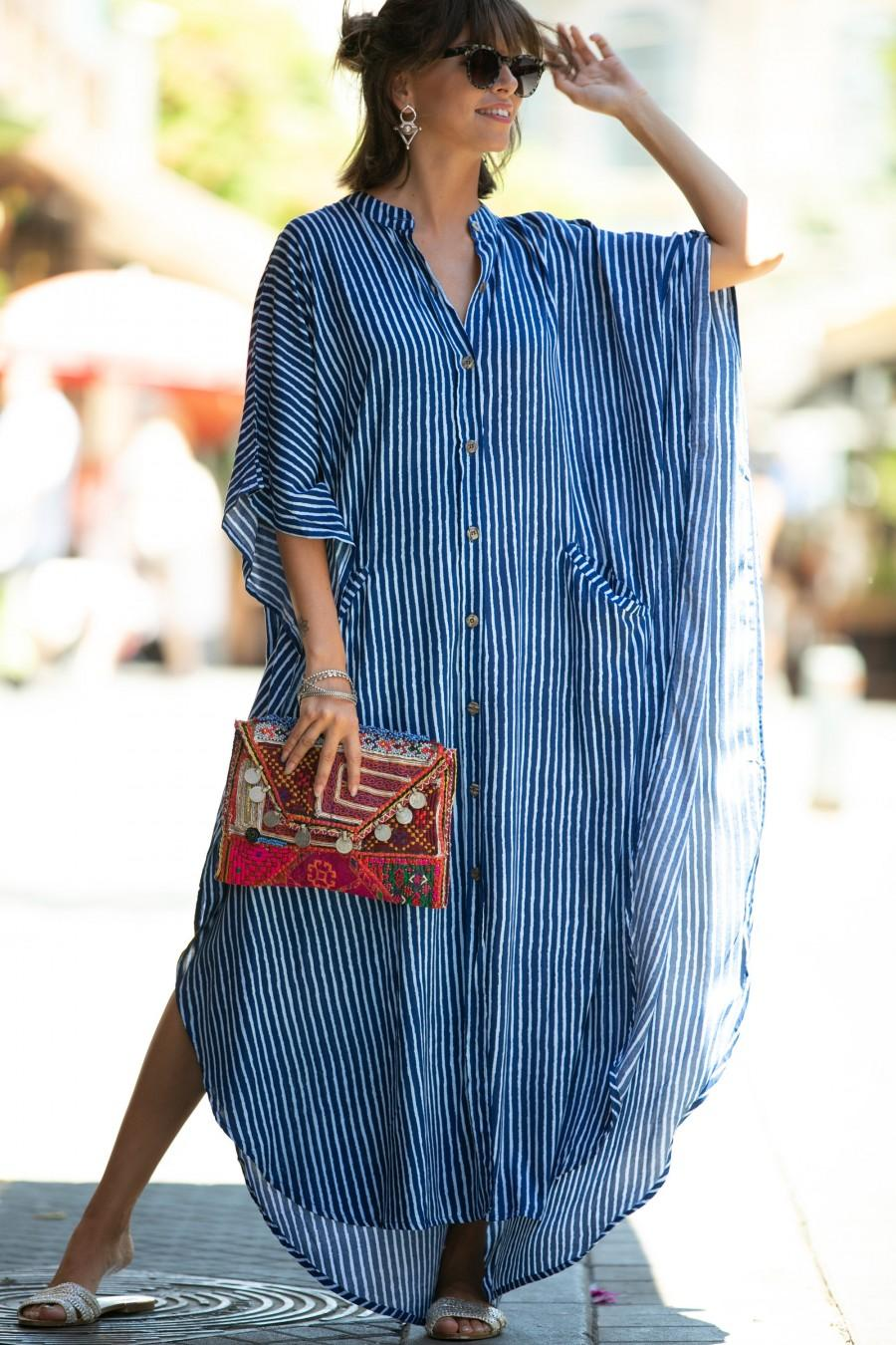 Wedding - Blue & White Striped Oversize Kaftan Dress, Bohemian Hipster Buttoned Caftan with Pockets, Summer Urban Vacation Hippie Plus size Maxi Dress