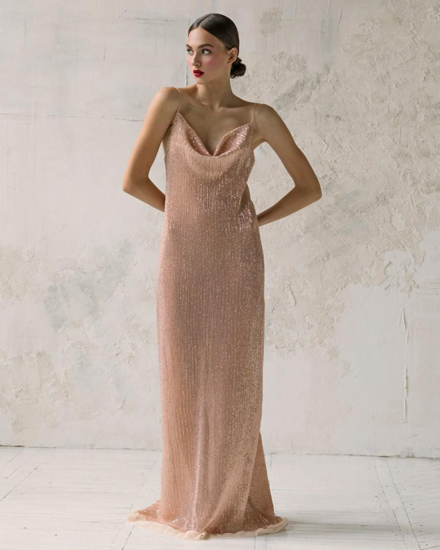 زفاف - Bridesmaid sequin slip dress, Prom draped slip dress