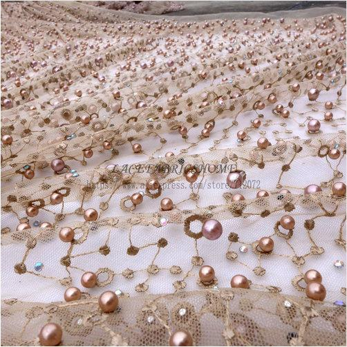 Hochzeit - New fashion style metallic stones pearls high grade on netting embroidered wedding dress/evening/show dress lace fabric by yard