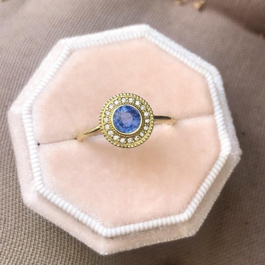 Mariage - Blue Sapphire Diamond Engagement 14k Gold Ring Natural Diamond Sapphire 14k Yellow Gold Ring Sapphire Diamond Engagement Ring