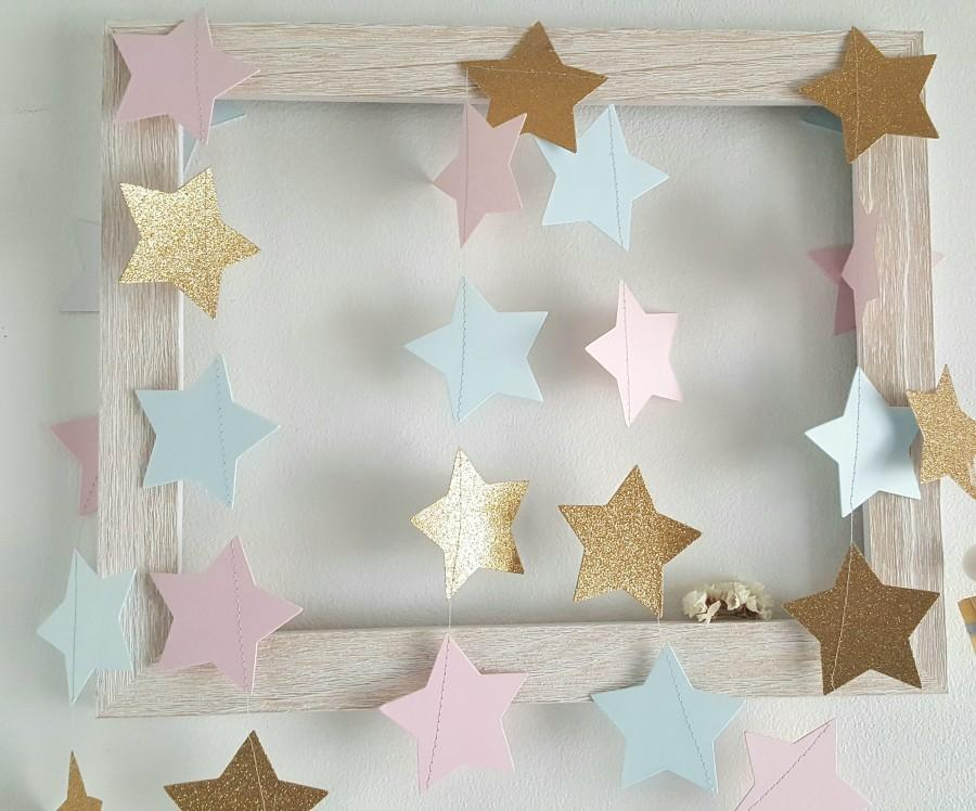 Hochzeit - Twinkle Twinkle Gender Reveal Garland/Pick Colors/Baby shower Decor/Gender Reveal twinkle twinkle littler star garland/Gender reveal party