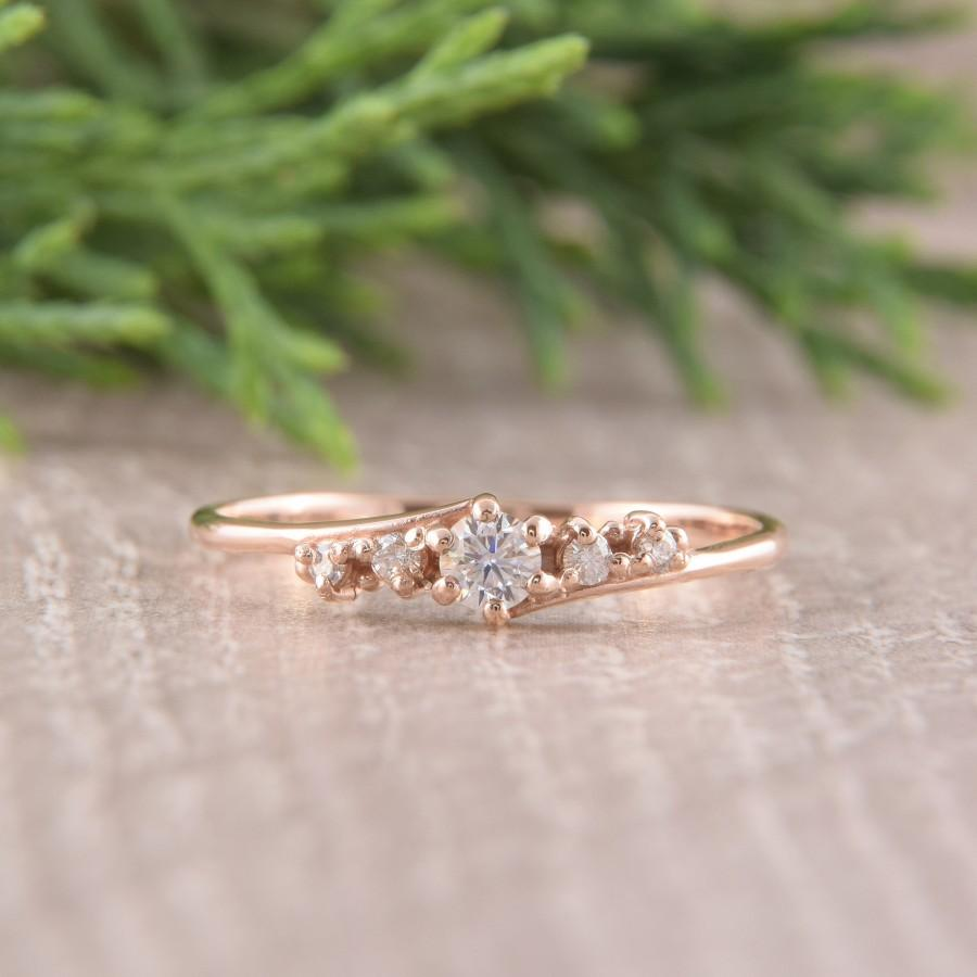 Hochzeit - Rose Gold Diamond Engagement Ring, Promise Ring for Her, Art Deco Engagement Ring, Moissanite Engagement Ring, Antique Engagement Ring