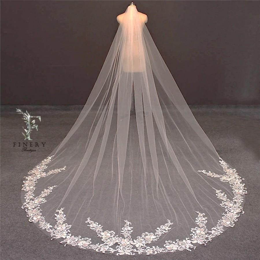 Wedding - Light Ivory Cathedral Wedding Veil, Rose Lace Wedding Veil, Single Layer Wedding Veil, White Floral Lace Bridal Veil, Vintage Wedding Veil