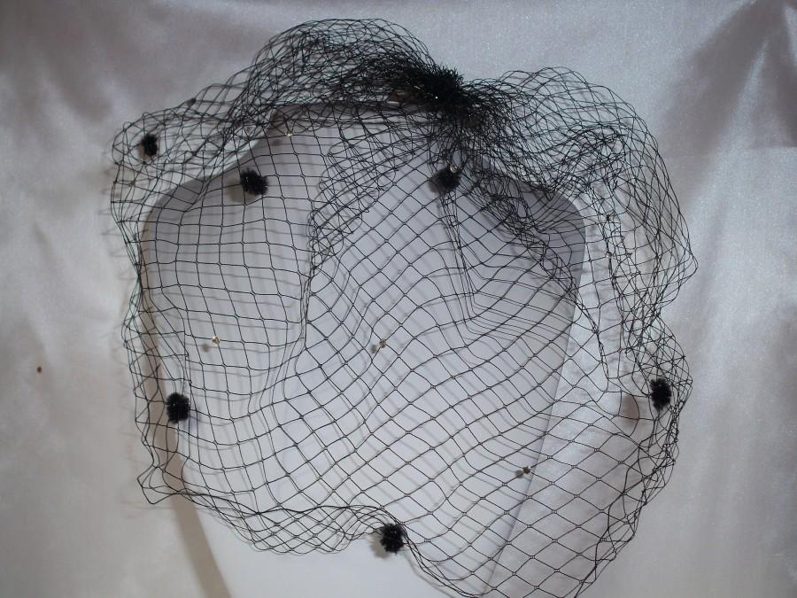 Wedding - Black birdcage veil, short black veil, crystal veil, netting veil, mourning veil, goth gothic veil, costume Halloween veil,Burlesque