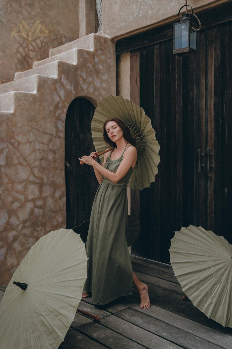 Hochzeit - New! Sage Green Bridesmaid Dress • Boho Dress for Woman • Long Maxi Bohemian Dress • Green Organic Dress • Bohemian Dress with Open Back
