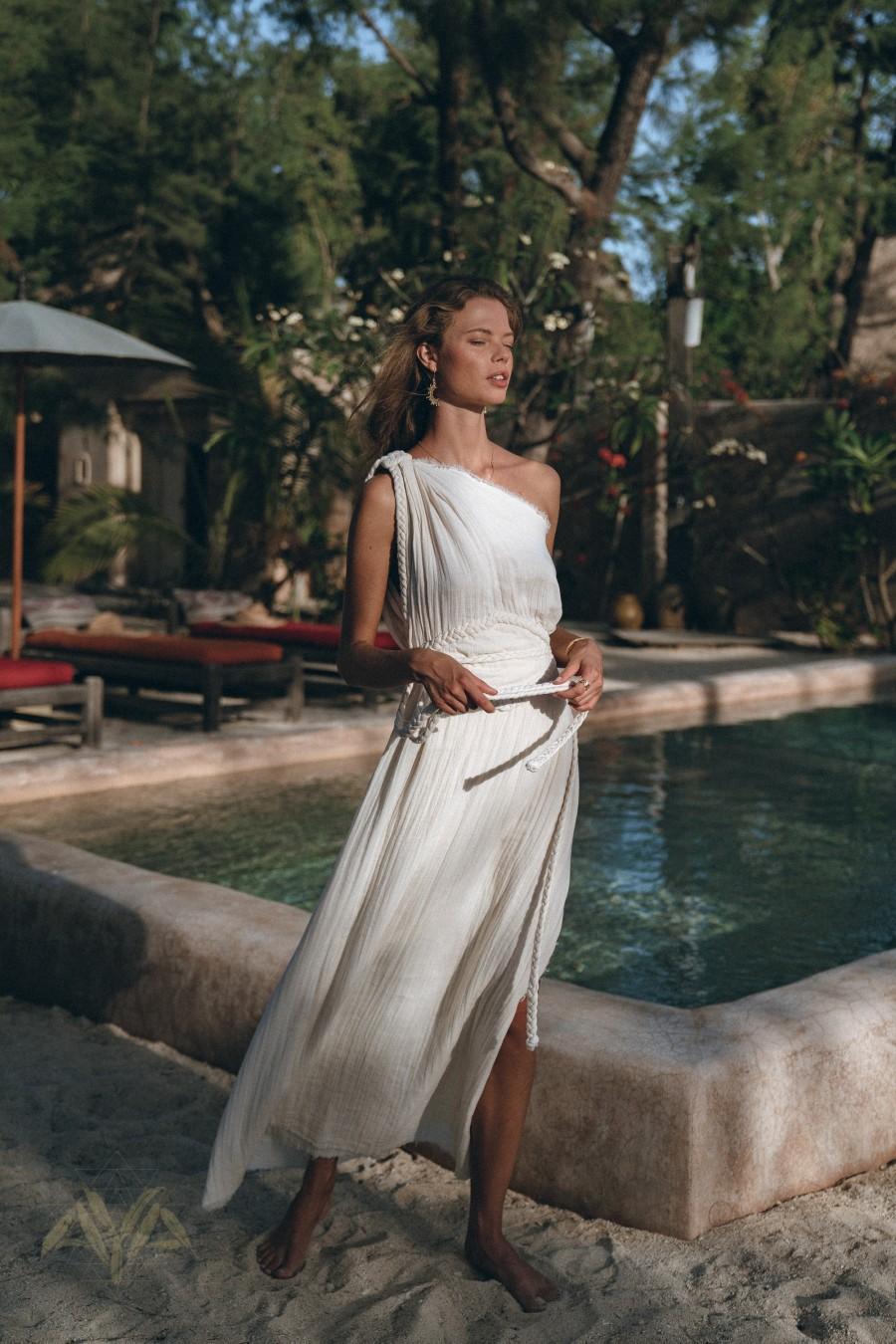 Hochzeit - Greek Goddess Wedding Dress • Boho Bohemian Dress • Organic Cotton Bridesmaid Dress • Maxi One Shoulder Dress  • Off White Long Toga Dress