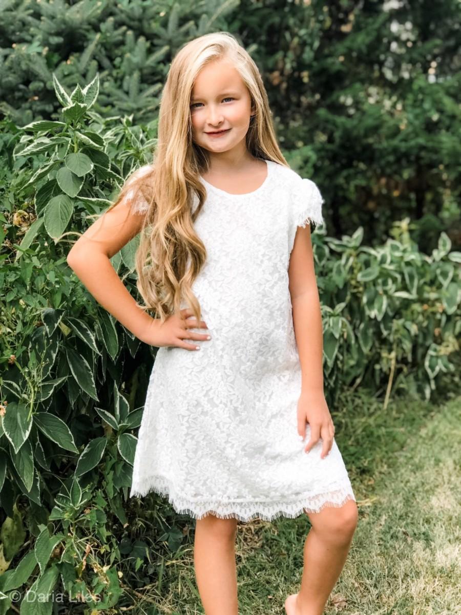 Hochzeit - Chloe Lace Cap Sleeve Flower Girl Dress-Christening Baptism Dress-Rustic Flower Girl-Long Sleeve Girl Dress-Bridesmaid-Country Flower Girl