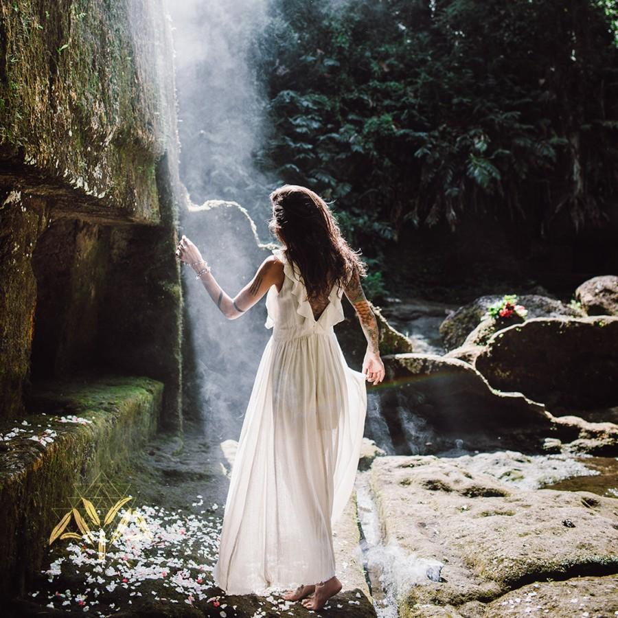 Wedding - Bestseller! Boho Wedding Dress • Goddess Dress • Simple Wedding Dress • Bohemian Wedding Dress • Off White Long Maxi Boho Dresses for Women