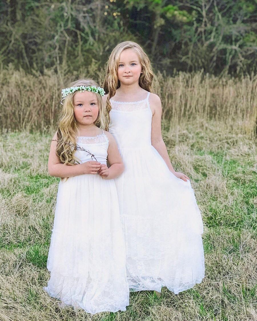 Mariage - Alora-Lace Flower Girl Dress ivory flower girl dress girls lace dress lace dress toddler lace dress boho flower girl dress flower girl dress