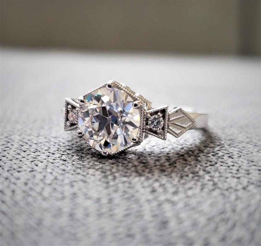 "Mariage - 7.5 mm 1.5 carat E-F Center Antique Diamond Old European Cut Moissanite Engagement Ring Rose Gold 1920 Bohemian PenelliBelle ""The Ellie"""