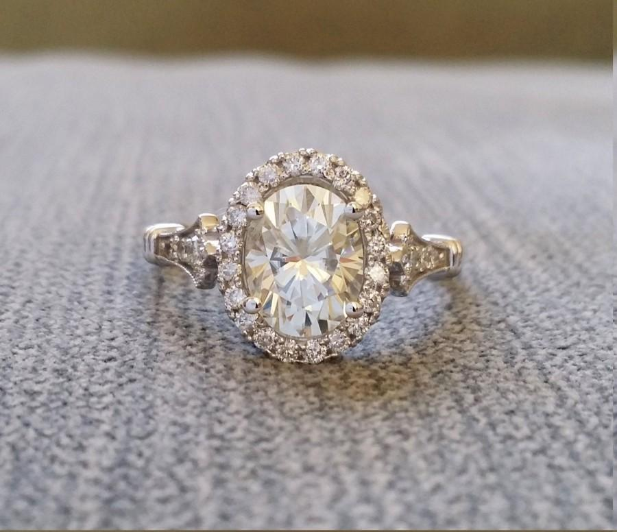 "Mariage - Estate Halo Moissanite Diamond Antique Engagement Ring Victorian Art Deco Heart Edwardian 14K White Gold ""The Estelle """
