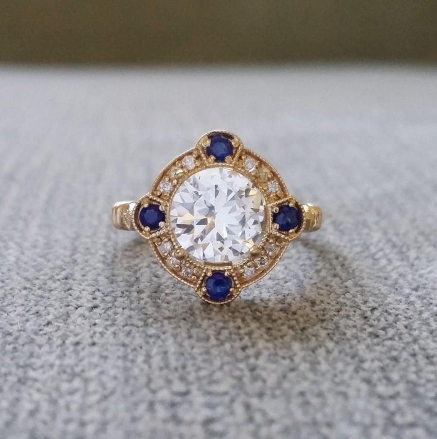 "Wedding - Estate Halo White Sapphire Diamond Antique Engagement Ring Victorian Art Deco Edwardian 14K Yellow Gold ""The Charlotte"""