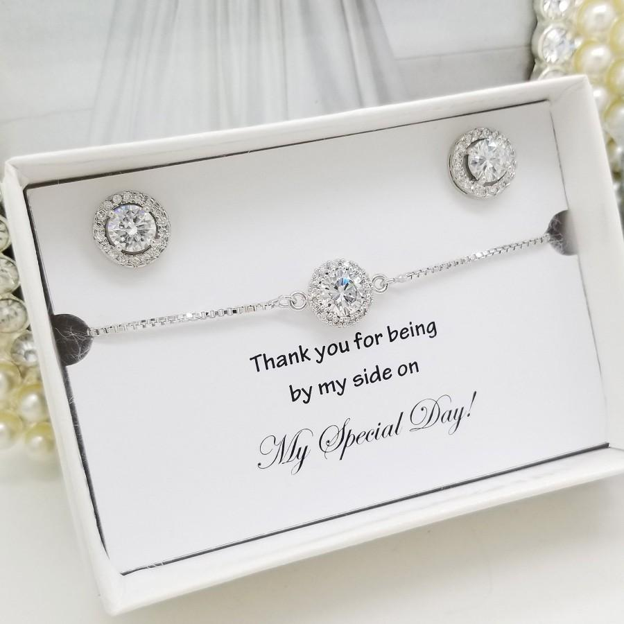 Wedding - SILVER Flat halo Earrings and Bracelet Set ,Bridesmaid Jewelry set Gift