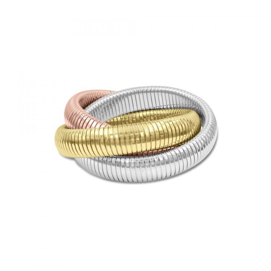 Hochzeit - Bracelets Bangles Triple Bracelet Omega chain 18K Gold Plated Tri-Color Unique fancy jewelry