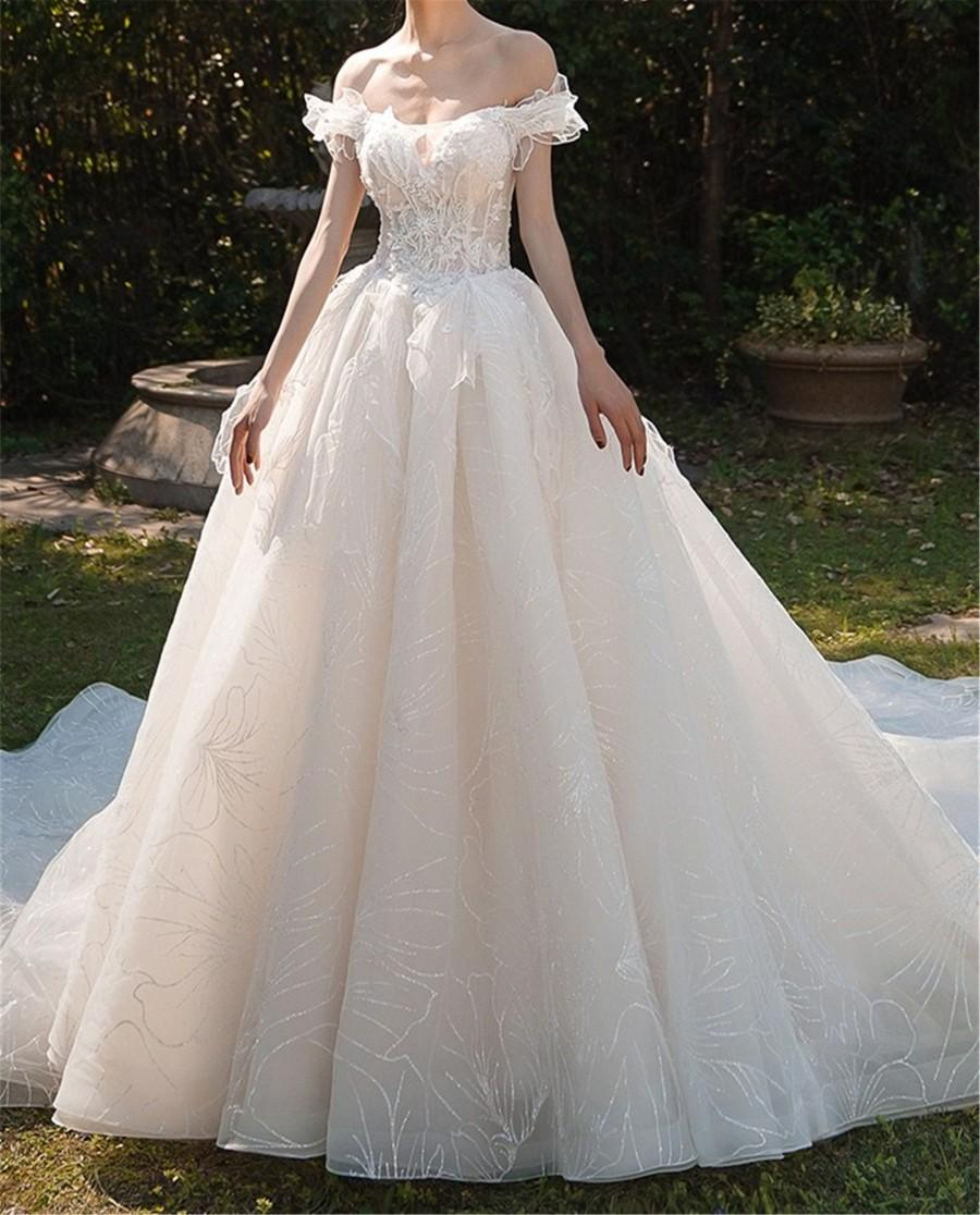 Mariage - Sparkly Wedding Dress Lace Embroidery Wedding Dress off the Shoulder Wedding Dress Cathedral Wedding Dress Dreamy A Line Wedding Dress