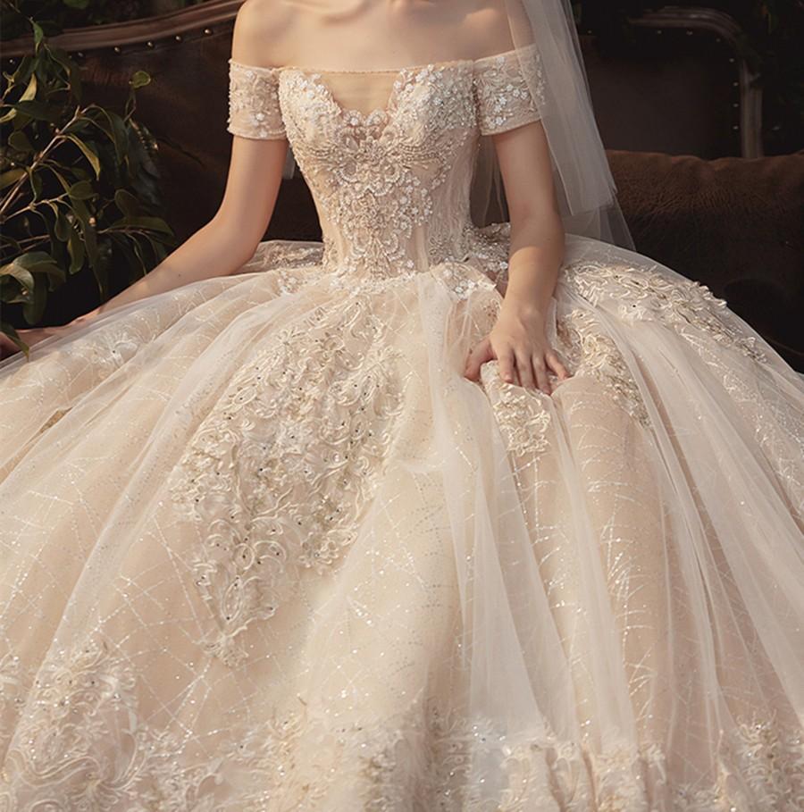 Mariage - Sparkly Wedding Dress Champagne Lace Applique Wedding Dress Luxury A Line Wedding Dress Cathedral Wedding Dress off Shoulder Bridal Dress