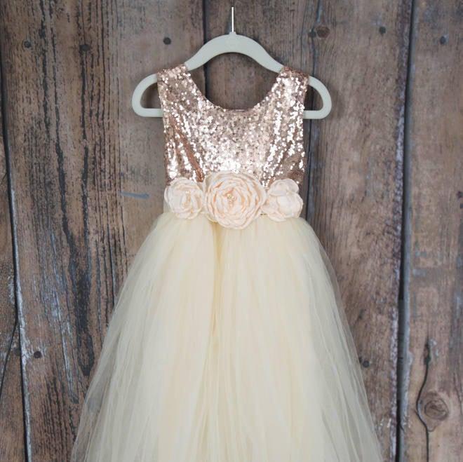 Hochzeit - Romantic Tulle Flower Girl Dress, Boho Chic Dresses, Ivory Ball Gown, Rose Gold Sequin Dress